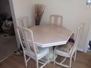 Italian white / cream extend able table and four chairs