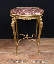 French Side Table - Ormolu Gilt Maiden Legs